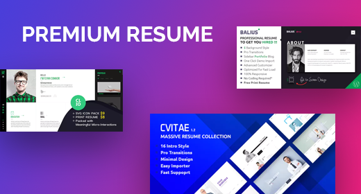 Featured Resume, CV, vCard Themes & Templates