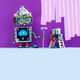 Creative design robot painter at work. Funny robotic decorator with paint roller and buckets, purple - PhotoDune Item for Sale