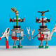 Two funny repairman robots with tools in their hands. Robotic characters with pliers hand wrench are - PhotoDune Item for Sale