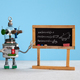 Artificial intelligence and trigonometry lesson in college. Robot teacher explains theory inverse - PhotoDune Item for Sale