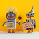 Job search concept. Two robots wants to get a job. Smiley unemployed robotic characters with a - PhotoDune Item for Sale