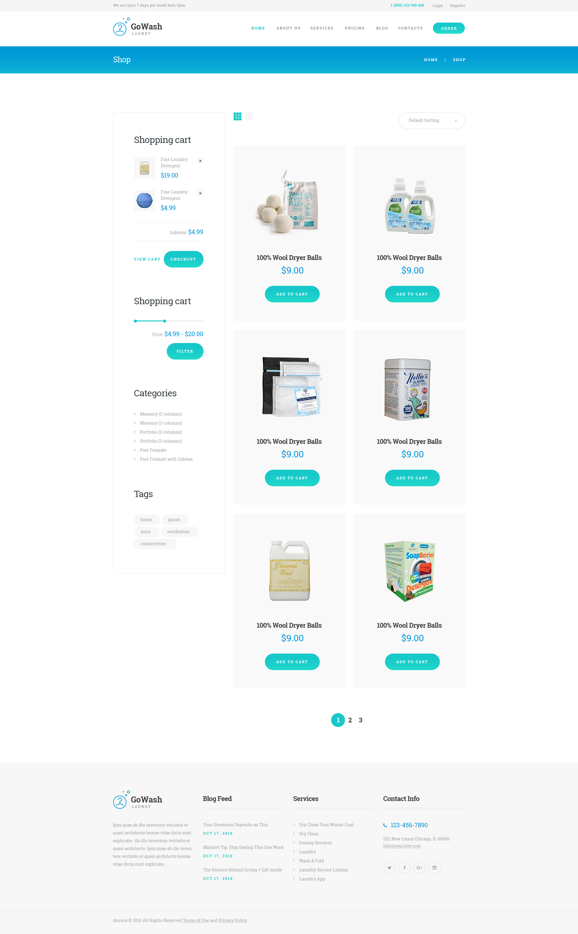 GoWash | Dry Cleaning & Laundry Service WordPress Theme