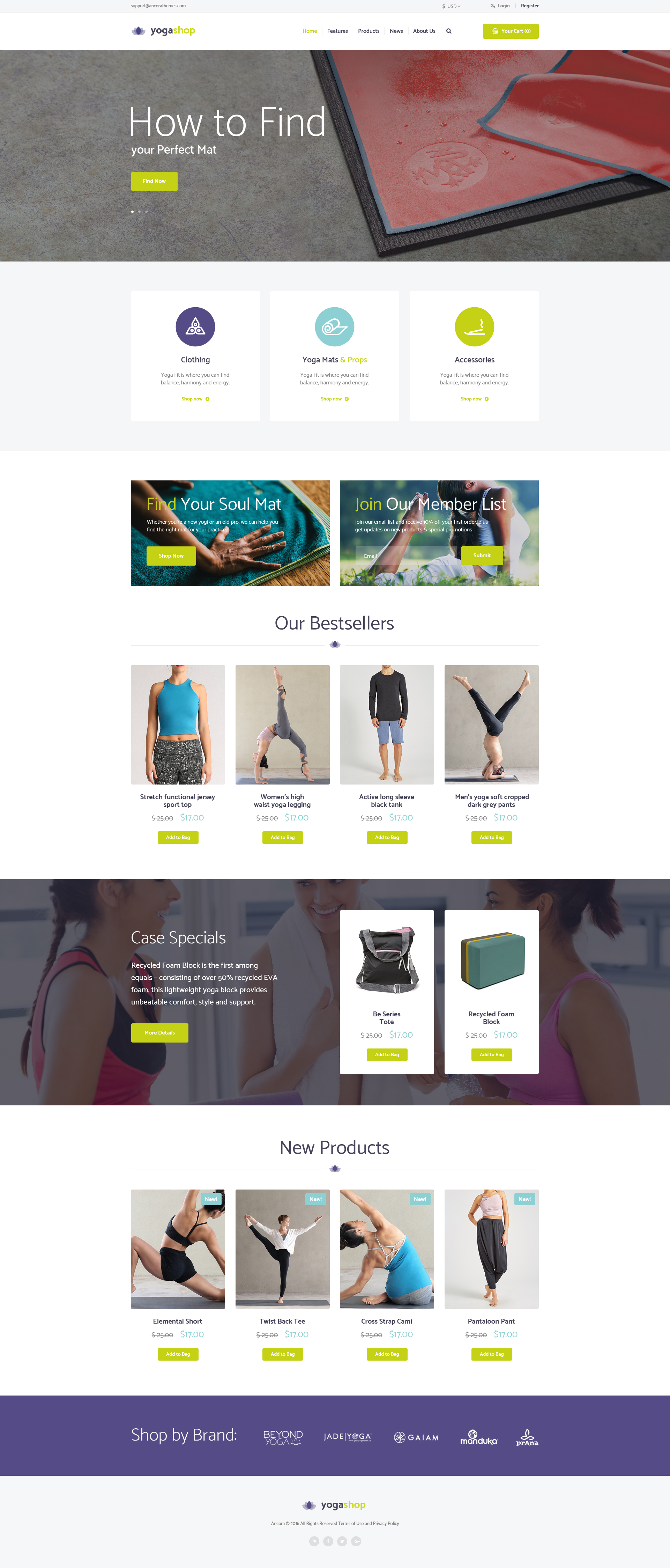 Yoga Shop A Modern Sport Clothing Equipment Store Wordpress Theme By Ancorathemes