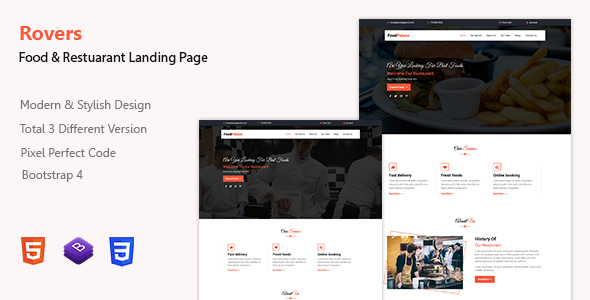 Rovers - Food & Restaurant Landing Page Template