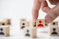 Job recruitment concept using icon people wood cube block - PhotoDune Item for Sale
