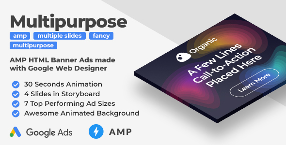 Organic - Animated AMP HTML Banners (GWD, AMP HTML)