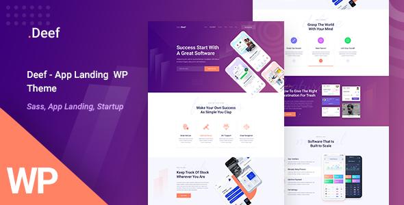 Deef – App Landing WordPress Theme Free Download