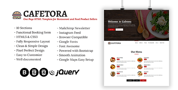 Extraordinary Cafetora - One Page HTML Template for Cafe, Restaurants and Food Seller