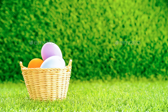Easter eggs in the basket on green grass-9 - Stock Photo - Images