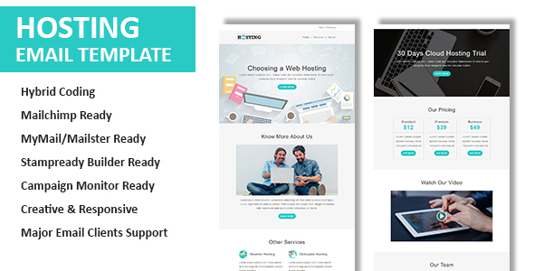 Hosting - Multipurpose Responsive Email Template with Online StampReady Builder & Mailchimp Editor