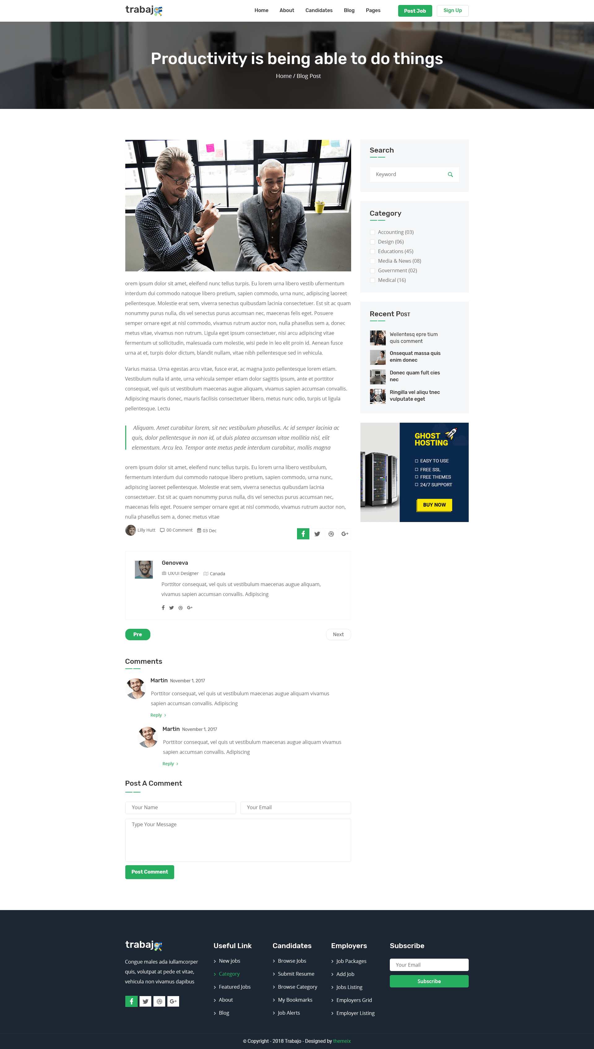 Trabajo - Job Portal Website PSD Template