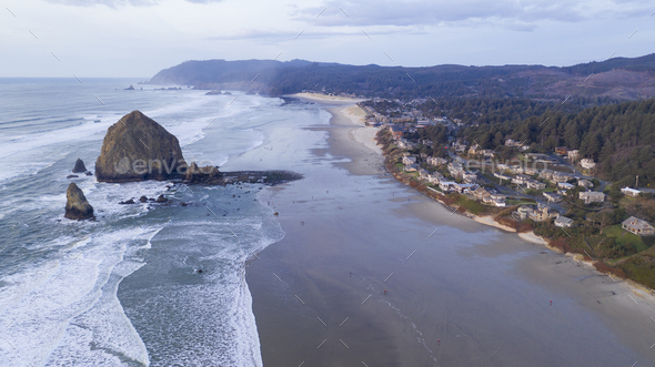 Aerial View Over Cannon Beach Pacific Ocean Coast Oregon - Stock Photo - Images