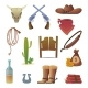Wild West Icon Cowboys Country Western Symbols - GraphicRiver Item for Sale