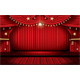 Red Stage Curtain with Seats and Copy Space - GraphicRiver Item for Sale