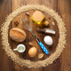 wheat grains and bakery ingredients on wood - PhotoDune Item for Sale