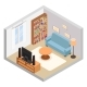 Hall Isometric TV Couch Sofa and Bookshelf - GraphicRiver Item for Sale