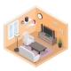Isometric Hall with TV and Couch - GraphicRiver Item for Sale