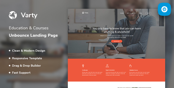 Varty – Education & Course Unbounce Landing Page Template Free Download