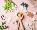 Female hands holding coffee, flowers, film camera and sign happy - PhotoDune Item for Sale