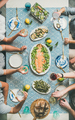 Mediterranean style dinner with cooked salmon, bread, lemonade, vertical composition - PhotoDune Item for Sale