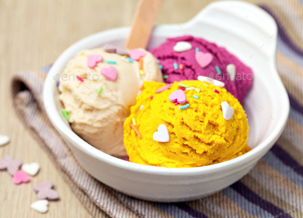 Bowl with tasty ice cream on table - Stock Photo - Images