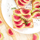 Healthy breakfast toasts from sliced watermelon radish - PhotoDune Item for Sale