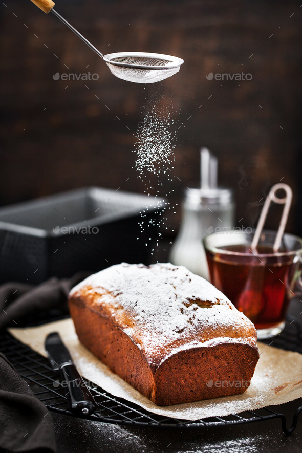 Delicious homemade cottage cheese and raisins loaf cake - Stock Photo - Images