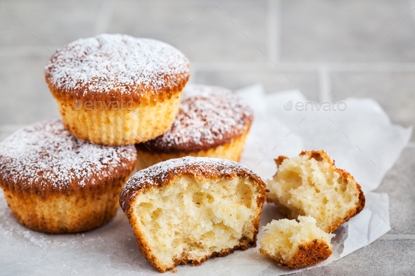Delicious homemade cottage cheese muffins - Stock Photo - Images