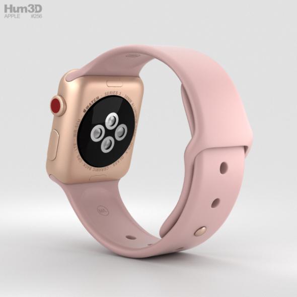 new style 4027c ecc0d Apple Watch Series 3 38mm GPS + Cellular Gold Aluminum Case Pink Sand Sport  Band
