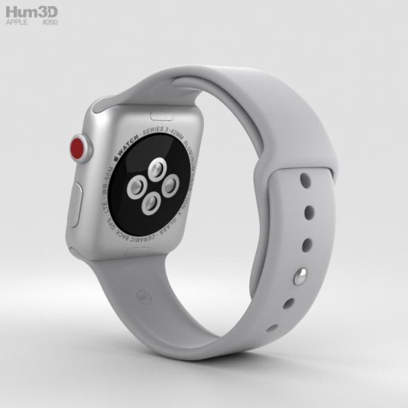 quality design 37b1d a8758 Apple Watch Series 3 42mm GPS + Cellular Silver Aluminum Case Fog Sport Band
