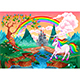 Unicorn in a Fantasy Landscape with Rainbow and Castle - GraphicRiver Item for Sale
