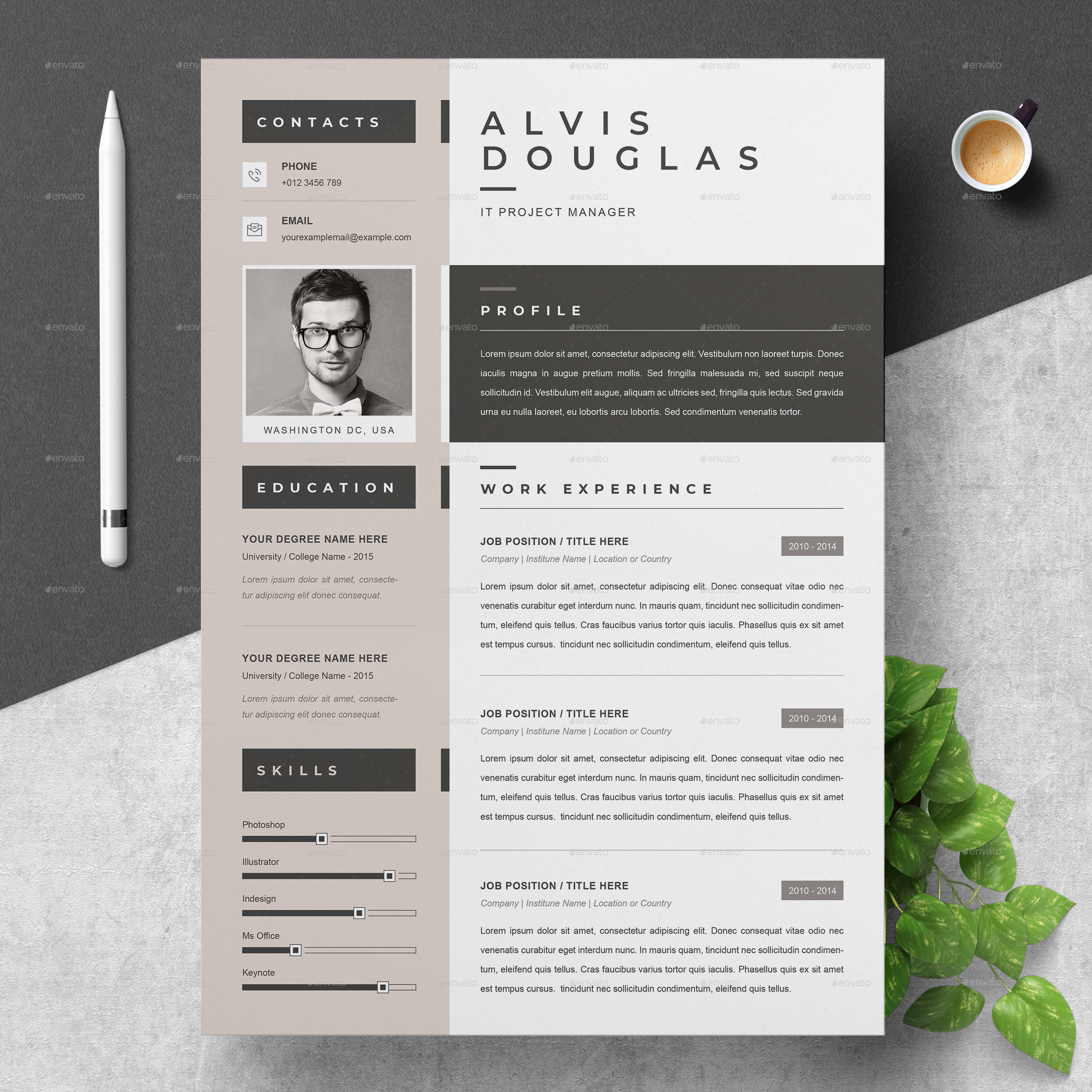 Creative Resume By Resumeinventor Graphicriver