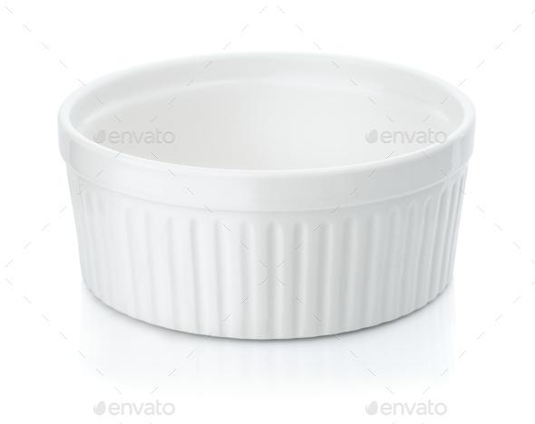 Round ceramic baking dish - Stock Photo - Images