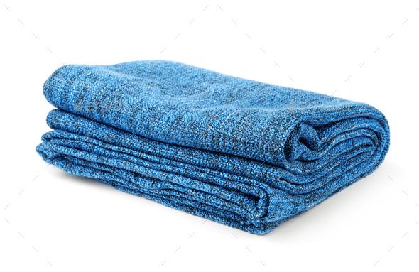 Folded blue blanket - Stock Photo - Images