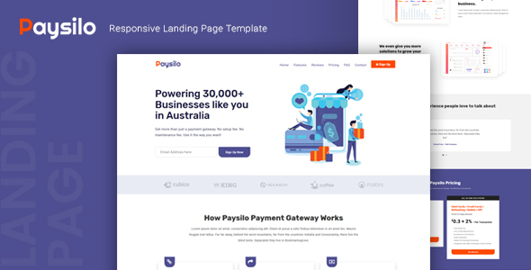 Paysilo — Responsive Landing Page Template by thememor