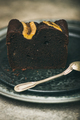 Piece of dark chocolate banana bread cake dessert on plate - PhotoDune Item for Sale