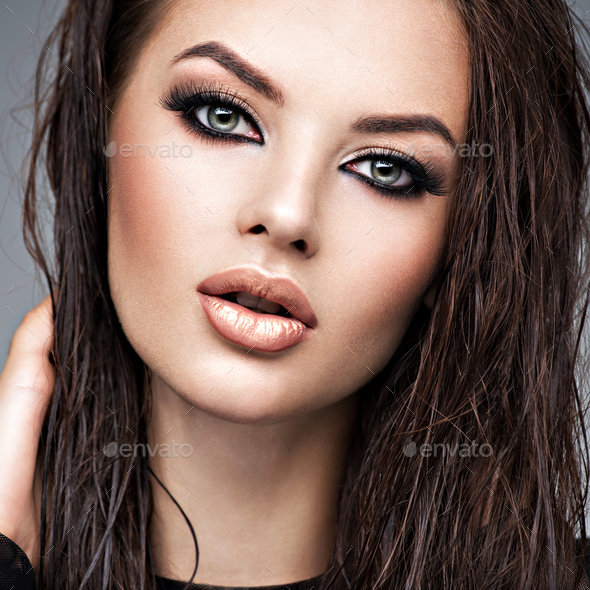 Beauty face of the young beautiful woman - Stock Photo - Images