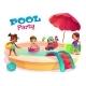 Multiethnic Kids Swimming in Pool Carton Vector - GraphicRiver Item for Sale