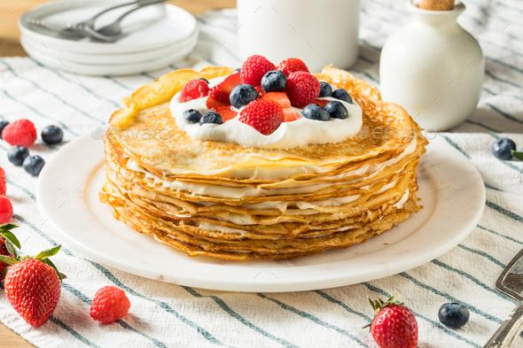 Sweet Homemade Layed Crepe Cake - Stock Photo - Images