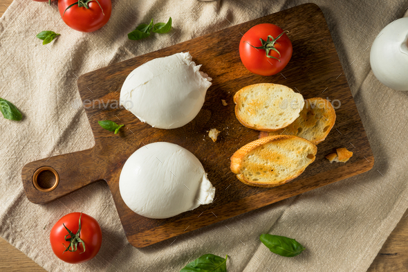 Homemade White Italian Burrata Cheese - Stock Photo - Images