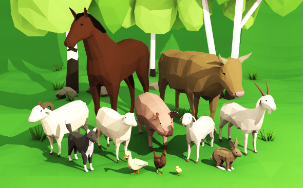 Domestic animals pack lowpoly