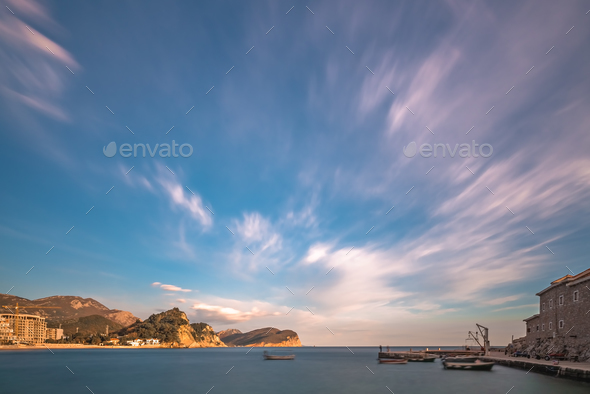 Marina and boat landing in Petrovac - Stock Photo - Images