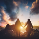 Couple walking in the mountains during sunset. - PhotoDune Item for Sale