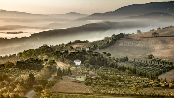 Tuscany foggy hills panorama view crop - Stock Photo - Images