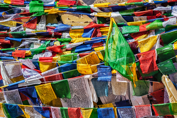 Buddhist prayer flags lungta - Stock Photo - Images