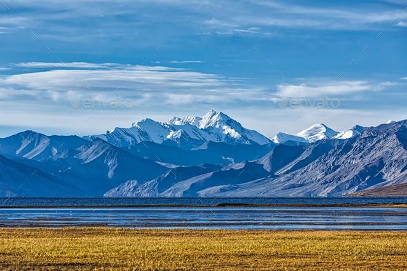 Himalayan lake Tso Moriri in Himalayas, Ladakh - Stock Photo - Images