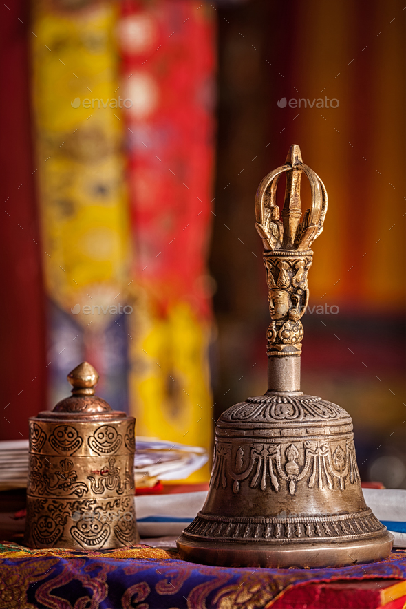Religious bell in Buddhist monastery - Stock Photo - Images