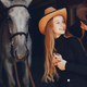 Elegant girls with a horse in a ranch - PhotoDune Item for Sale