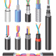 Set Realistic Electric Industrial Fiber Optic Cables and Copper Wire - GraphicRiver Item for Sale