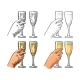 Female Hand Holding and Clinking Glass Champagne - GraphicRiver Item for Sale